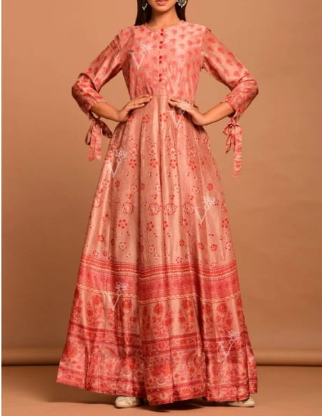 Light-Brown Vasansi Silk Printed Anarkali Gown