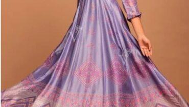 Purple Vasansi Silk Printed Anarkali Gown
