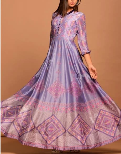 Purple Vasansi Silk Printed Anarkali Gown