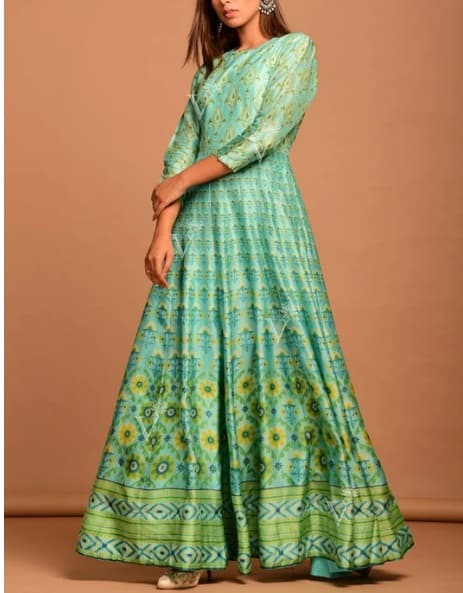 TourquoiseVasansi Silk Printed Anarkali Gown